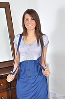 Stripping Brunette Teen In Tiny Red Thong - Picture 6